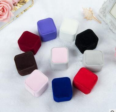 Anillo / Pendiente Caja Velvet Valentine Gift Display Caja de joyería Accesorios de boda mix Colores Caja de artilugios