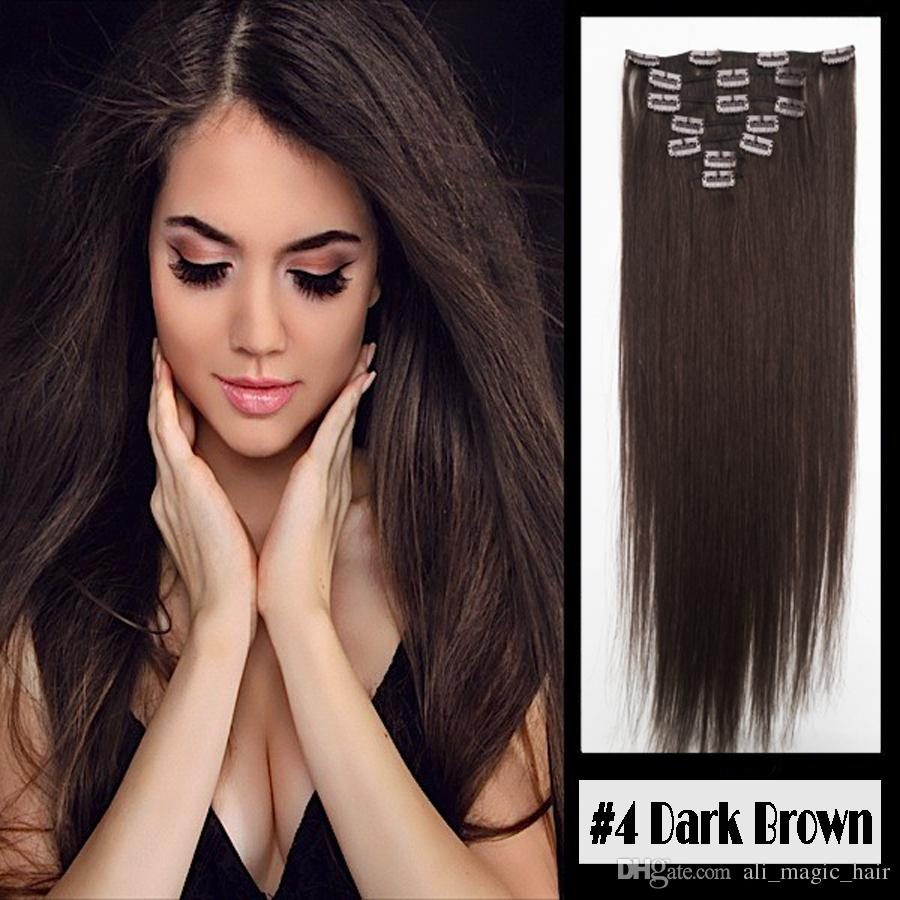 "Full Head Blond Black #4 Dark Brown Clip in Human Hair Extensions Silky Straight 100g Brazilian Malaysian Indian Remy Hair 10"" - 24"""