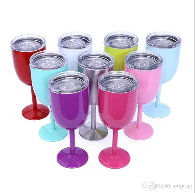 2017 Hot 10oz Wine Glasses RTIC Style Stainless Steel Double Wall Vacuum Insulated Cups With Lids Goblet Bilayer Free Shipping 9 Colors