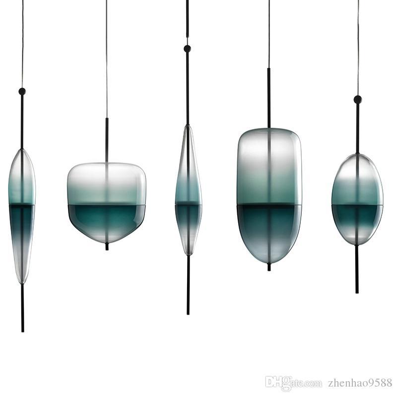 Cromatografia azul design italiano pingente de luz da lâmpada Lago de Veneza Gradiente azul Simples Pacífico Puro vidro de iluminação pingente