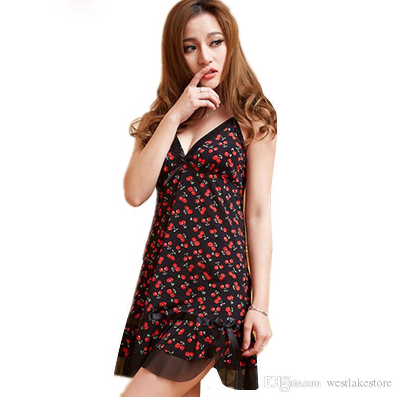 Новый ночное платье женщины спагетти ремень летняя ночная рубашка женский сексуальный печати ночная рубашка короткие дамы пижамы ночная рубашка
