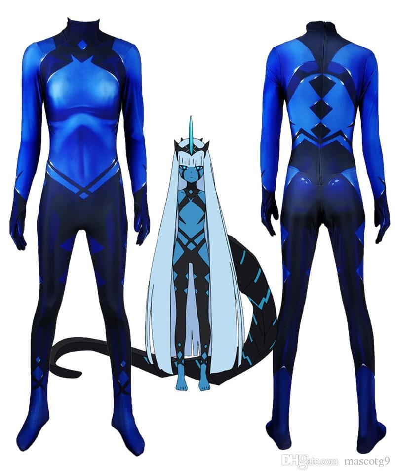 Klaxosaur الأميرة حبيبي في فرانكس 001 تأثيري حلي 3d طباعة ليكرا zentai هالوين catsuit مخصص ارتداءها