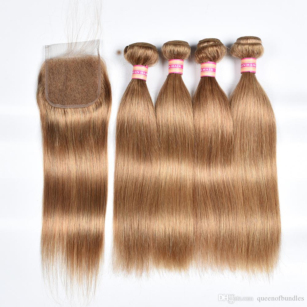 Brazilian Straight Hair Weave Bundles With Closure Honey Blonde Human Hair 3 Bundles With Closure 27# Brazilian Straight Hair Extension