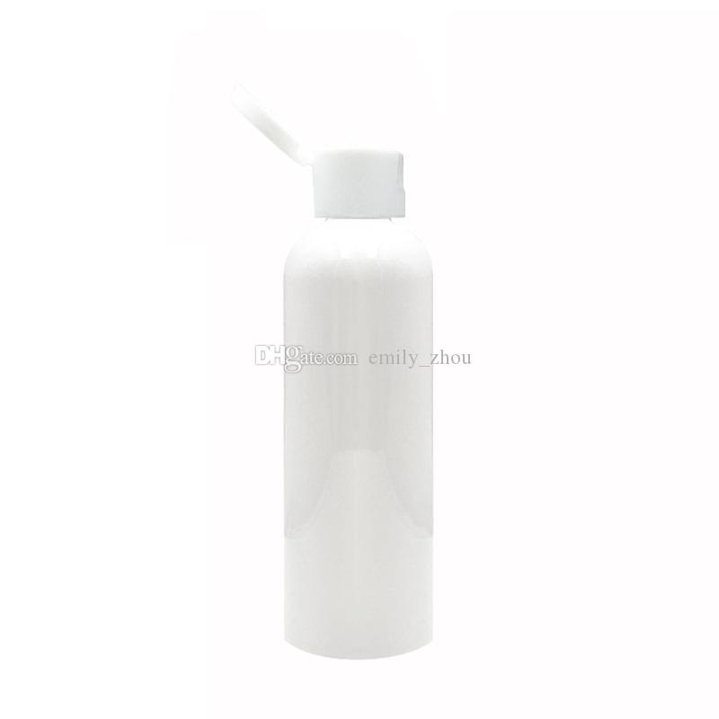50X100ml 150ml 200ml 250ml white bottle flip top cap,cosmetics packaging containers with screw lids,Container for lotion shampoo
