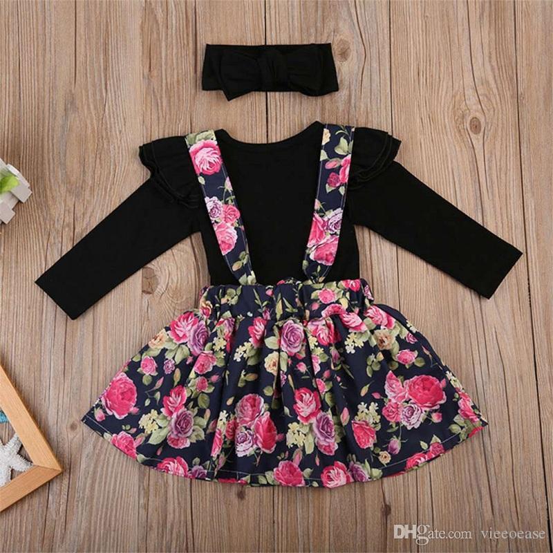 Vieeoease девушки наборы Детская одежда 2018 осень с длинным рукавом ползунки + цветок пачка платье + оголовье дети наряды 3 шт. EE-1015