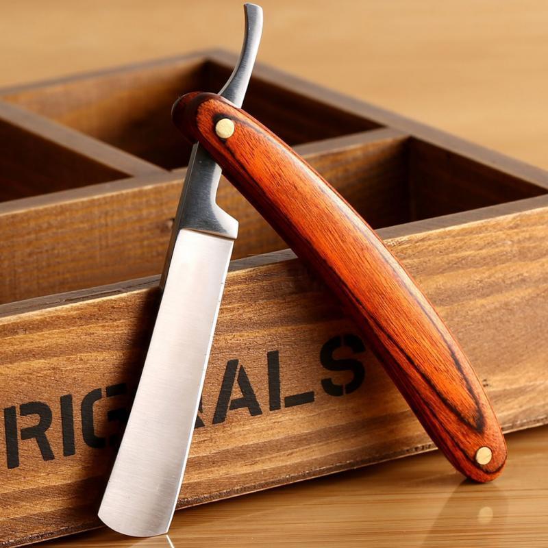 İyi Kalite Düz Kenar Paslanmaz Çelik Katlanır Tıraş Bıçağı Epilasyon Aletleri Ahşap Saplı