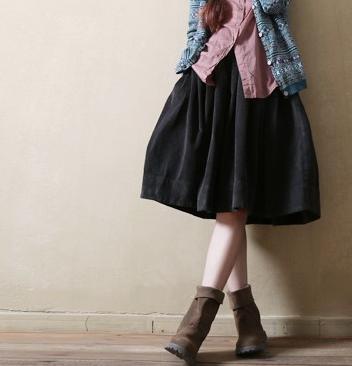 Mori Girl Mujer Otoño Vintage Faldas plisadas Invierno Mujer Tallas grandes Corduroy Hasta la rodilla Cintura alta elástico Faldas Midi