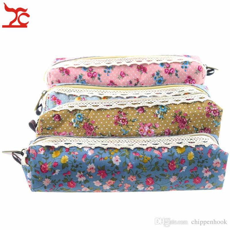 Fashion Flower Floral Lace Pencil Pen Case Faux PU Leather Lipstick Cosmetic Makeup Bag Jewelry Bracelet Organizer Travel Zipper Pouch