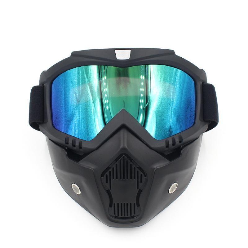 Óculos de Motocross Óculos Óculos Máscara de Poeira Destacável Motocicleta Oculos Gafas Boca Filtro Para Capacetes Abertos Rosto Vintage Universal