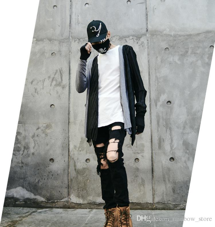 Otoño hombre moda patchwork hip hop camiseta manga larga cardigan discoteca DJ cantante punk rock capa traje traje slim fit tees