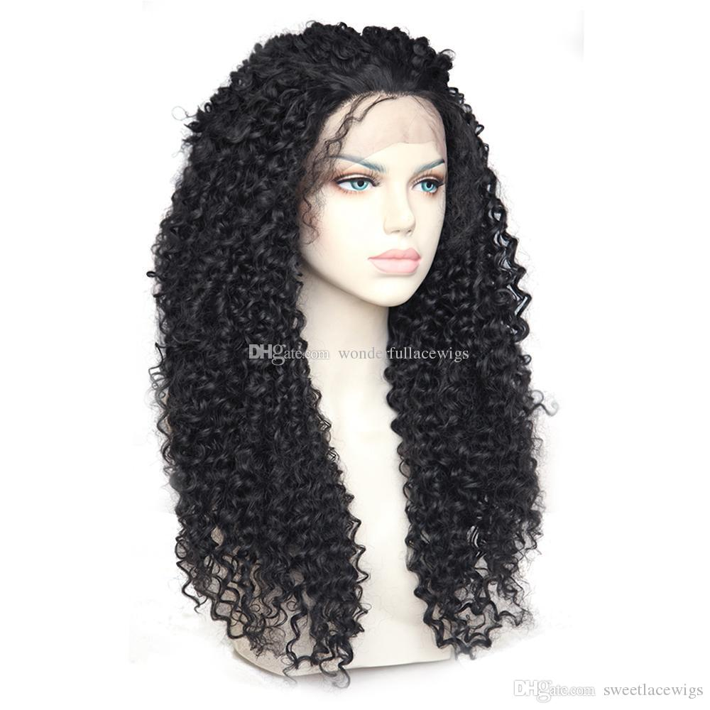 Fashion Cheap African American Wigs 150% Long Black Afro Kinky Curly Synthetic Wigs Heat Resistant Gluelese Lace Front Wigs for Black Women
