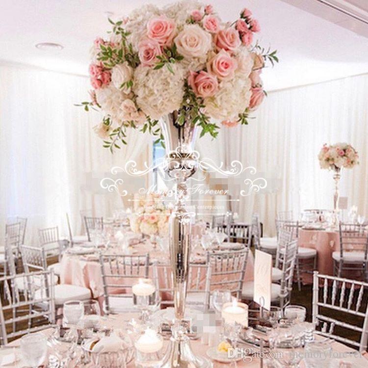 98cm Tall Vintage Flower Vase Pot Metal Trumpet Vase Wedding Marriage Ceremony Anniversary Centerpiece Decorations Home Party Decor