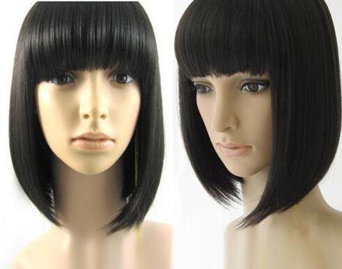 Sıcak Satmak Yeni Seksi Kısa Siyah Düz Patlama Bob kadın Lady Saç Peruk Peruk