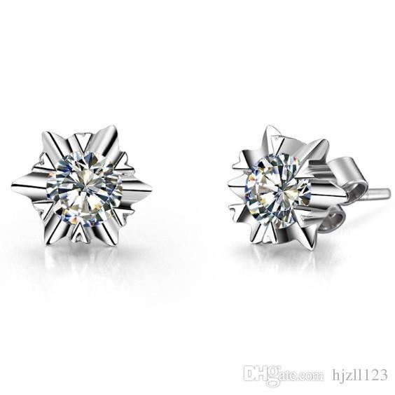 Klasik Tasarım 2 karat / Çift Kar Tanesi şekli Sentetik Elmas Saplama Küpe Famale Düğün Gümüş Takı Ücretsiz Nakliye Için