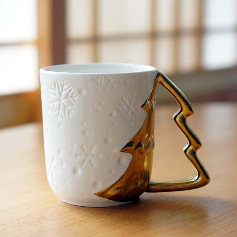 Coffee Christmas Tree.Christmas Tree Gold Plated Ceramic Cup Reliefs Snowflakes Lovers Cups Creative Mugs Coffee Cups Milk Cups Printed Coffee Mugs Printed Mugs