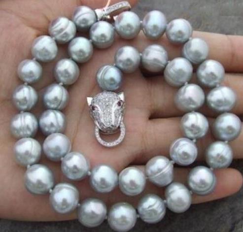10-12mm НАТУРАЛЬНЫХ ЮЖНОГО МОРЯ БАРОККО СЕРОГО жемчужное ожерелье 18 дюймов