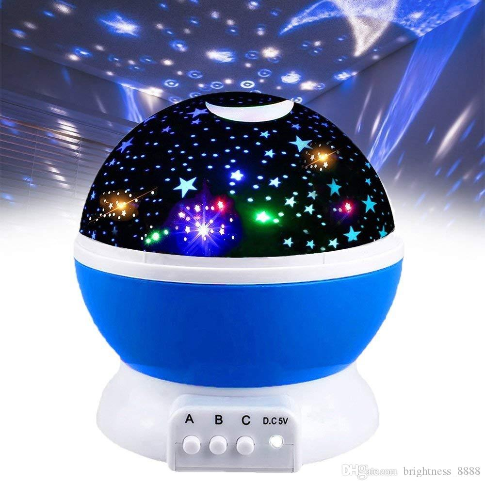 Newest Romantic Star Light Rotating Projector, 361 Star Moon Sky Night Lamp, 4 LED Bulbs 8 Modes for Children Kids Bedroom