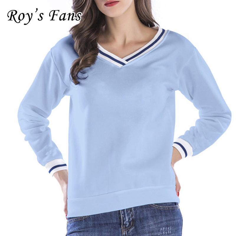 Roy's Fans Fashion Donna Solid Felpe con scollo a V manica lunga Felpa allentata Autunno Casual Pullover Felpa