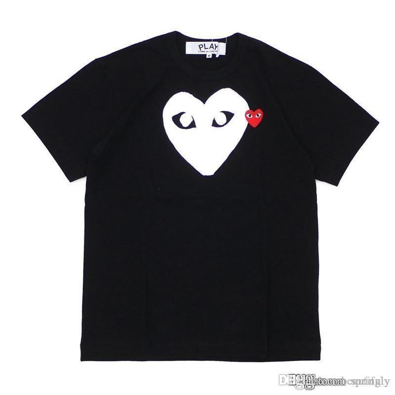 mens commes diseñador calidad jugar violeta blanca corazón des Garcons blanca de los hombres camiseta verde Gráfico del corazón de la ampliación de foto JUEGO Tee