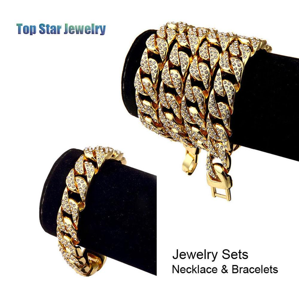 Hip Hop ICED OUT Jewelry Sets 24K Gold Plated Full Diamond Necklace & Bracelet 2pcs Set Men MIAMI CUBAN LINK CHAIN Bling Bling Accessory