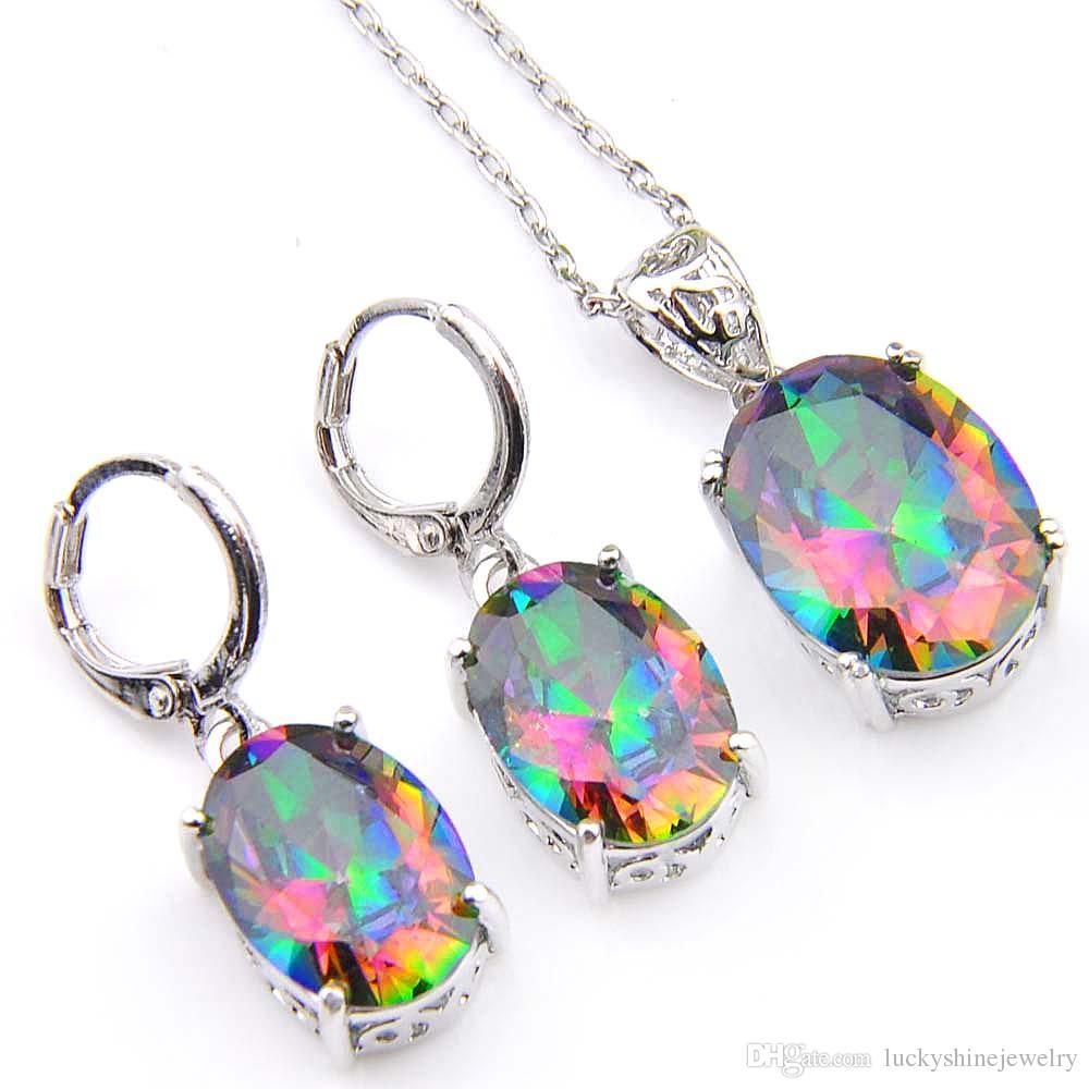 Novel Luckyshine 5 Sets Rainbow Ellipse Mystic Topaz Gems 925 Silver Pendants Necklaces Earrings Zircon Jewelry Sets