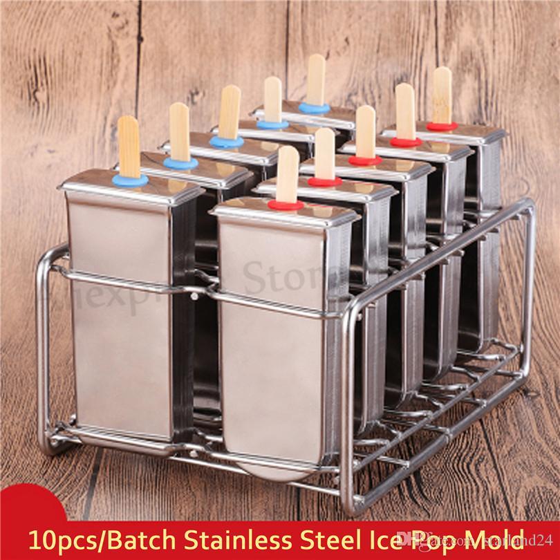 Popsicle Kalıpları Dondurma Kalıp Makinesi Mutfak DIY Paslanmaz Çelik Dondurma Araçları 10 adet / Toplu Marka Yeni