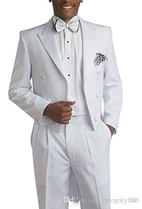 Mode Blanc Tailcoat Hommes De Mariage Tuxedos Double-Breast Groom Wear Haute Qualité Hommes Dîner Formel Costume De Bal (Veste + Pantalon + Cravate + Ceinture) 626