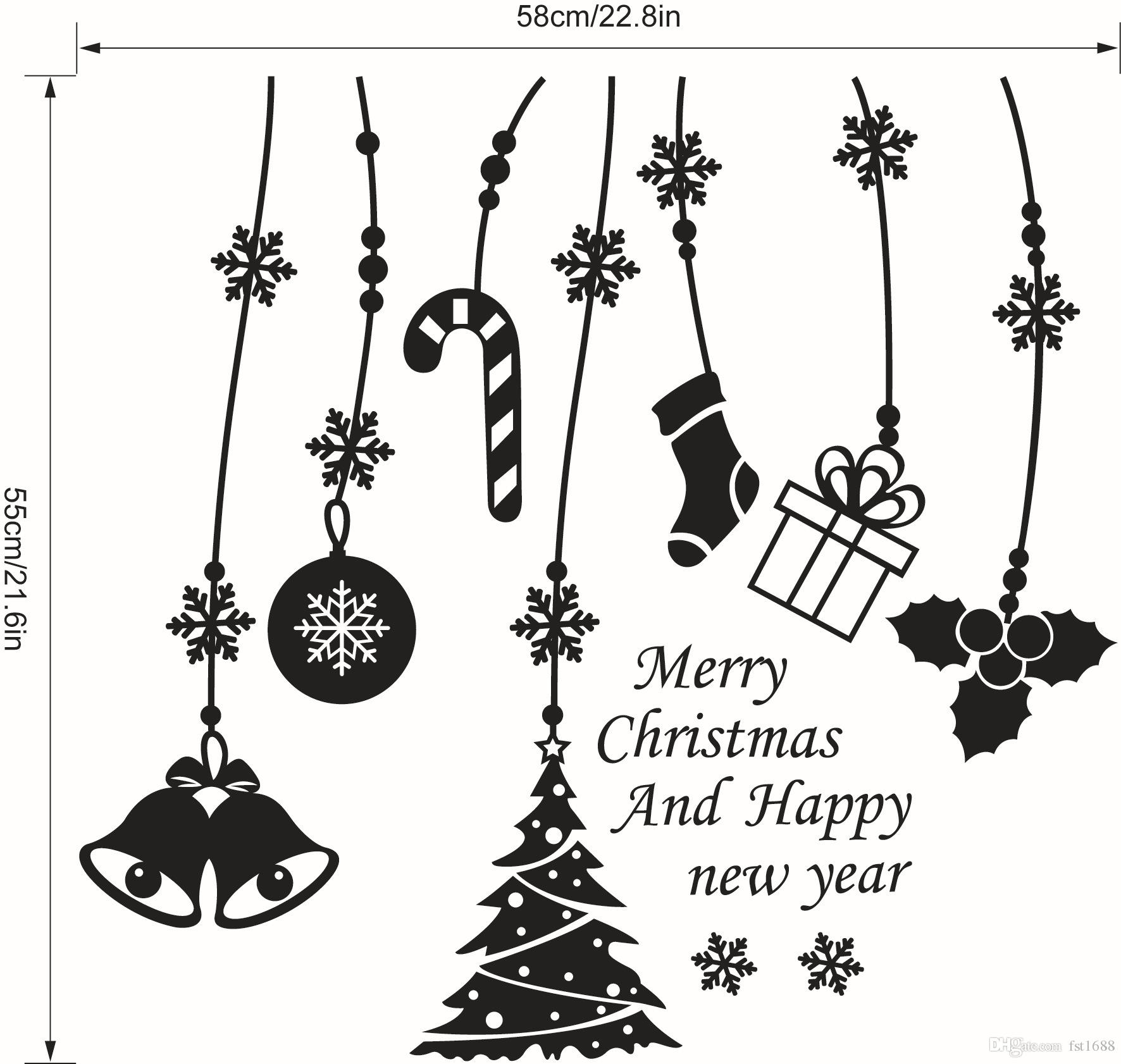 Christmas Vinyl Decals.Merry Christmas Vinyl Decals Bell Tree Snowflake Wall Stickers Shop Office Window Xmas Wallpaper Art Party Gift Living Room Home Decoration Cool Wall