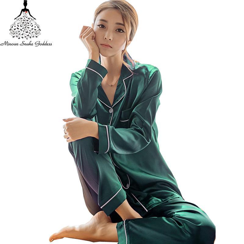 Шелковые атласные пижамы набор женщин плюс размер M-5XL с длинным рукавом пижамы женский сна из двух частей набор Loungewear рубашки + брюки пижамы