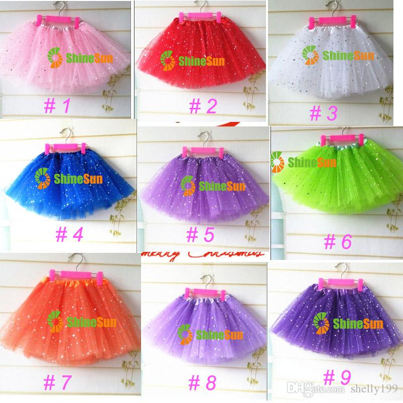 17 Colori Neonate Fluffy Mini Skirt Ragazza 3 strati Sequin Balletto Gonna con stelle scintillanti Dress up Tutu Bambini Ragazze Tutus Pettiskirt