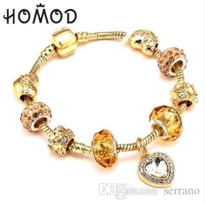 Aşk Kalp Kristal kolye Kadınlar Düğün Anneler Günü Hediyesi ile HOMOD Antik Altın Renk Charm Bilezik Bileklik