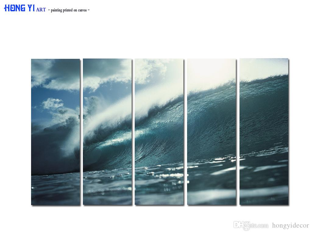 Large Sea Waves Modern Giclee Canvas Print Painting Seascape Picture Photo on Canvas Wall Art for Living Room Bedroom Home Office Decor A146