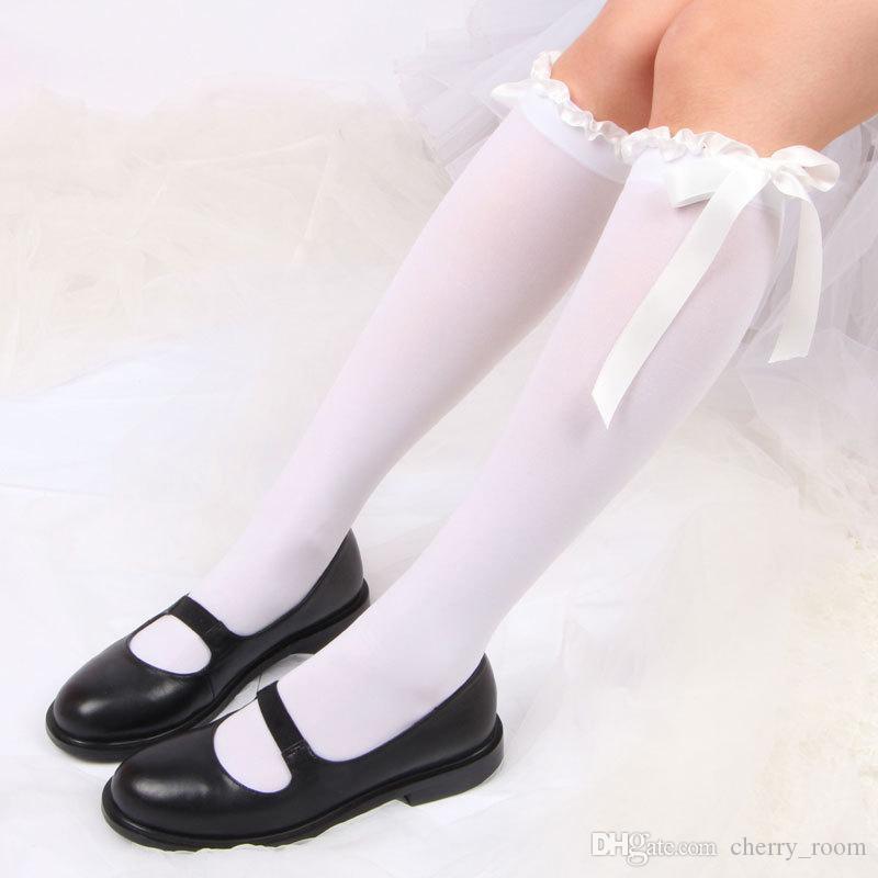 Новая мода бантом кружева над коленом длинные чулки носки бедра для горничной платье косплей костюмы женщины сексуальный милый носок черный белый A9985