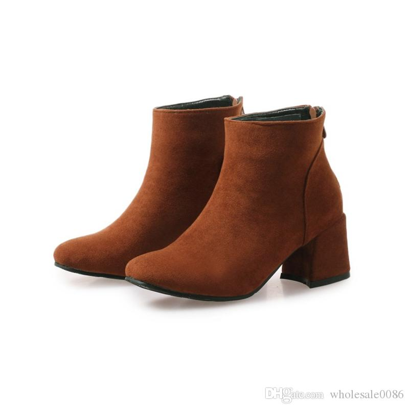 Fashion Hot Sale Womens Ladies Square Toes Chunky Heel Zip Casual Ankle Boots Shoes B1031 US UK Shoes Size