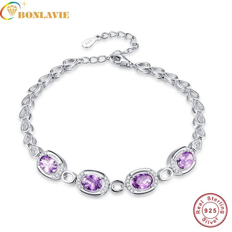 BONLAVIE 925 Sterling Silver Jewelry Purple Amethyst bracelets&bangles for women jewelry wholesale