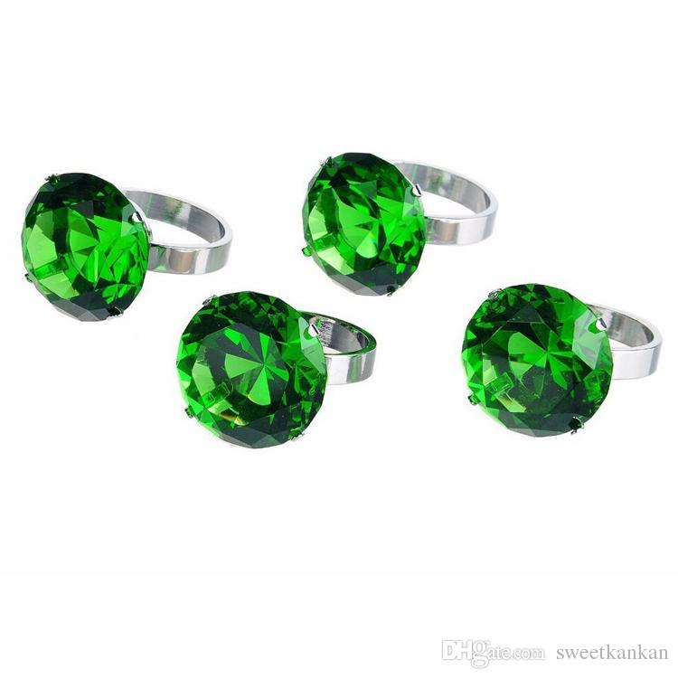 New green 40mm napkin rings crystal glass crystal diamond napkin holder glass wedding desk decor