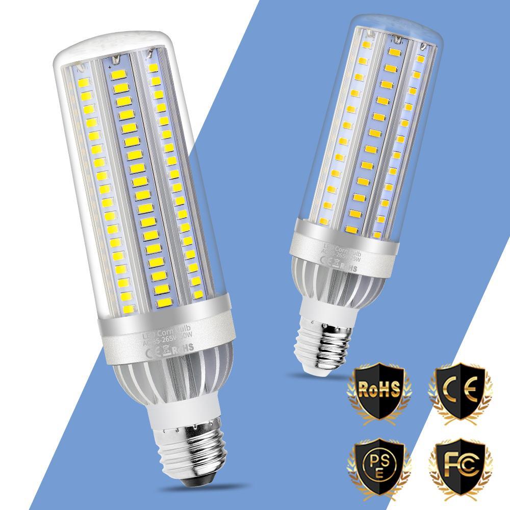 Mes Ampoules Led Scintillent acheter e27 led lampe 25w 35w 50w e26 lampada led maïs ampoules ventilateur  de refroidissement 220v en aluminium Économie dénergie lumières pas de