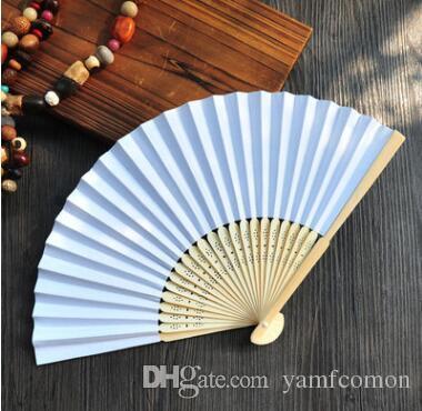 """Hot selling 200 pcs / lot White Folding Paper Hand Fan white fan paper fan Wedding Party Favour 21 sm 8"""""""