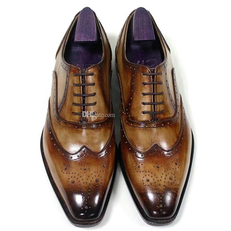 Erkekler Elbise ayakkabı Oxfords ayakkabı Özel El Yapımı ayakkabı Kare ayak Hakiki buzağı deri Renk patina kahverengi HD-N195