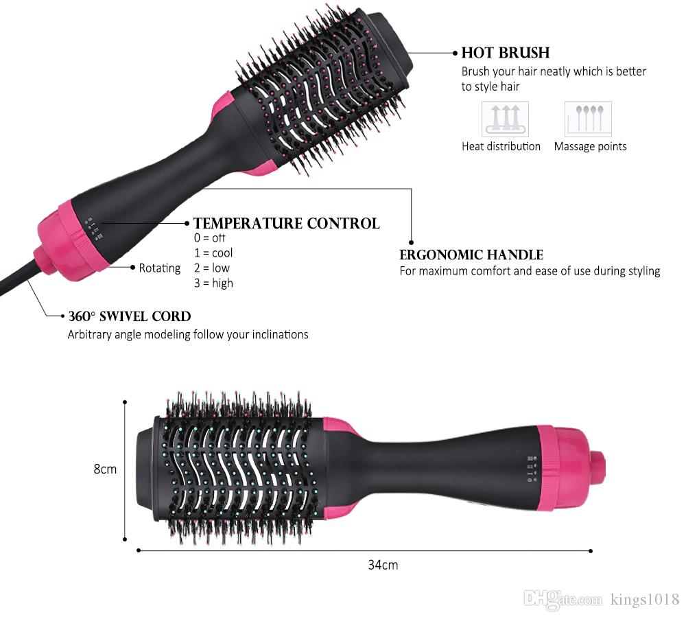 new arrival 1000W Professional Hair Dryer Brush 2 In 1 Hair Straightener Curler Comb Electric Blow Dryer With Comb Hair Brush Roller Styler