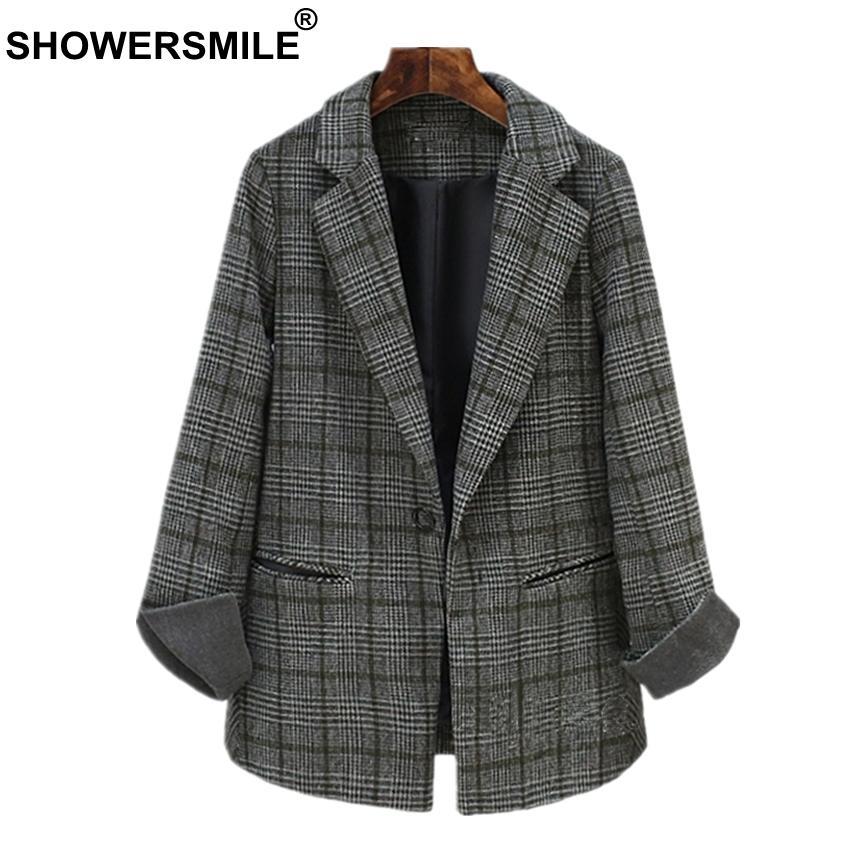 Southd Damen Fit One Blazer Mantel Lady Anzug Slim Button Großhandel Showersmile Von Tweed Office Wintermantel Jacke Plaid Grau Yvfgy7b6