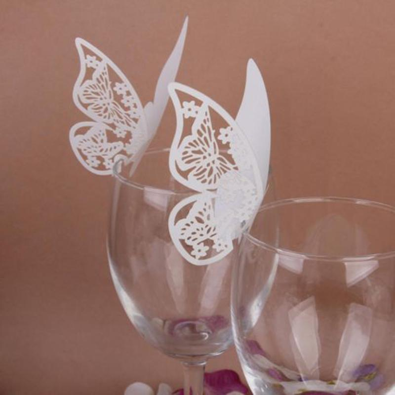 New 50pcs Butterfly Place Escort Wine Glass Cup Paper Card for Wedding Party Home Decorations White Blue Pink Purple Name Cards