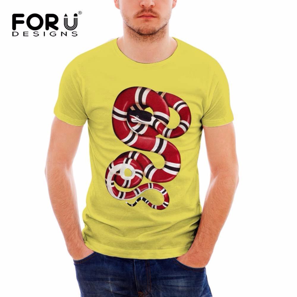 FORUDESIGNS Streetwear T-shirt dos homens marca de moda roupas de verão Snake Impresso camisetas de algodão mens Crossfit Musculação tees