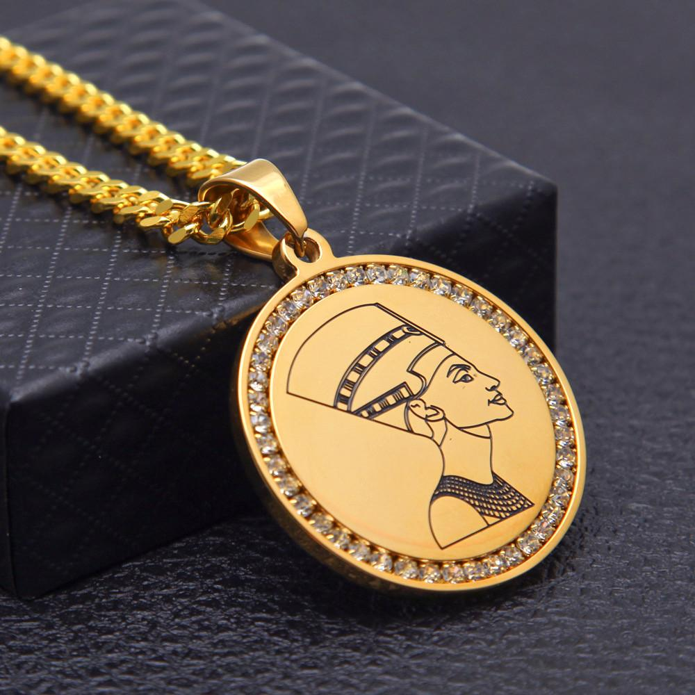 Nefertiti Pendant Necklace For Men Egypt Jewelry 18K Gold Plated Rhinestone Hip Hop Necklaces Luxury Stainless Steel Chain