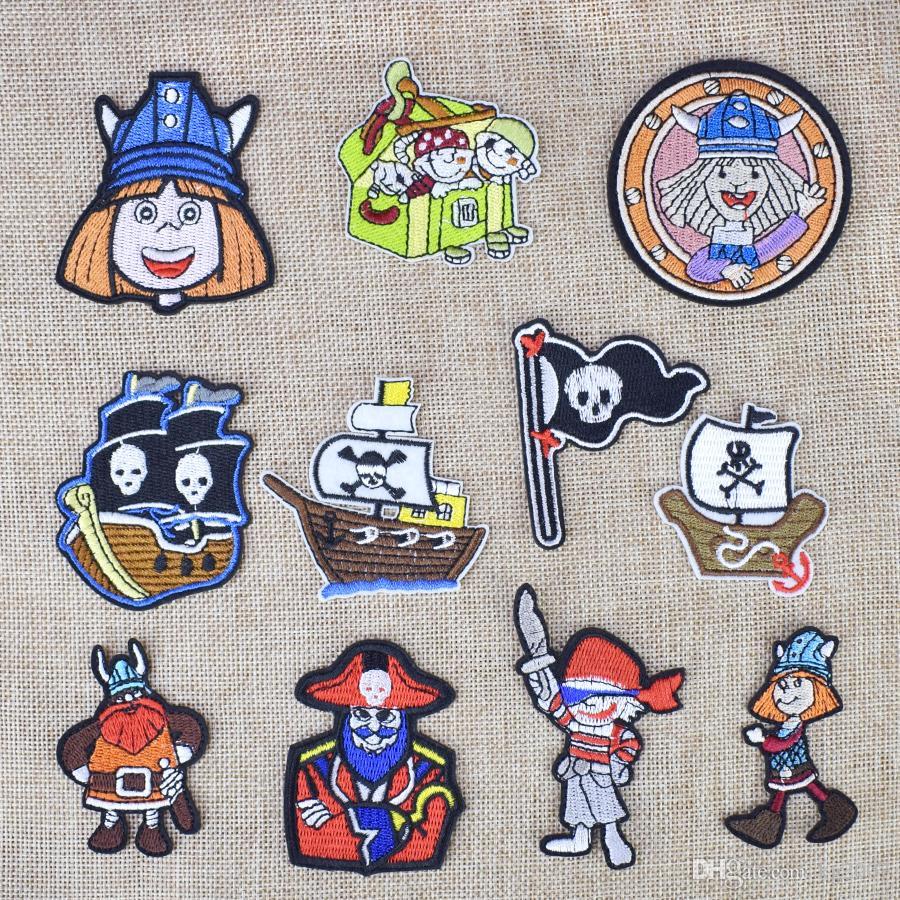 Buccaneer Tecidos Distintivos Vestuário Acessórios Patches para cola bordados Vestuário Patches para Traje ferro em transferência Applique Patch de 10PCS