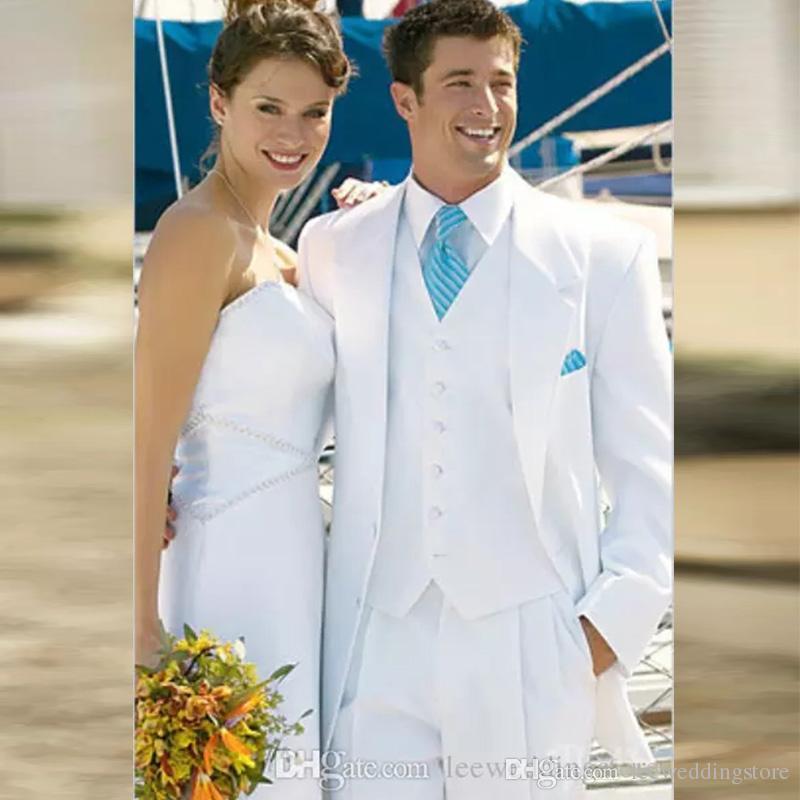 Abiti da uomo bianchi Abiti da sposa per uomo Sposo sposo sposo Best Fit Regular Fit Blazer Prom Giacca da smoking su misura formale + Vest + Pantaloni