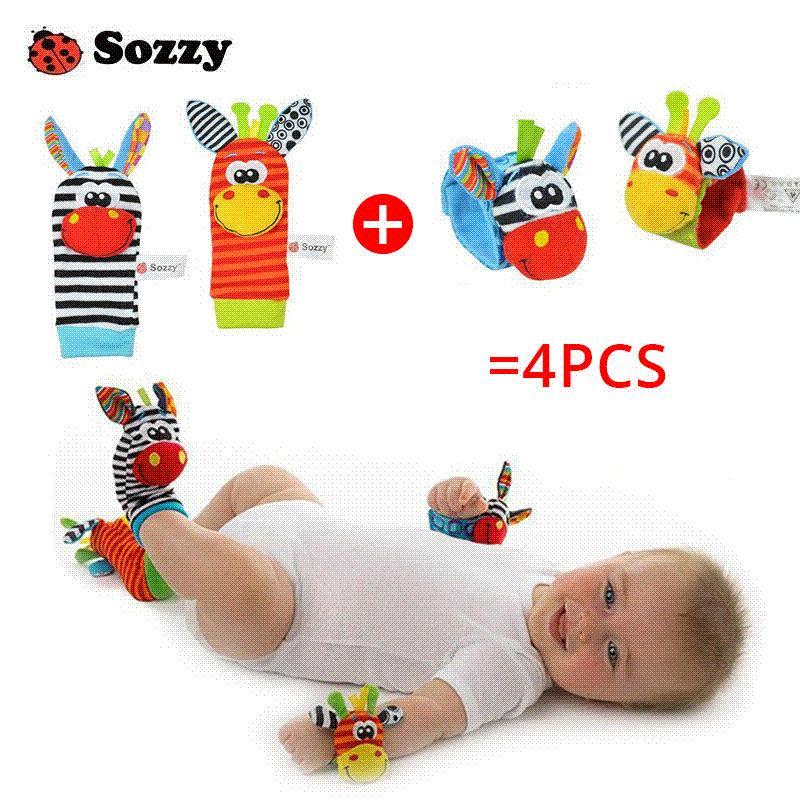 Soszyny 4 sztuka Zebra Baby Bebe Niemowlę Nadgarstek grzechotka i skarpetki Bell Foot Finders Set Educational Soft Newborn Prezent Zabawka dla dzieci
