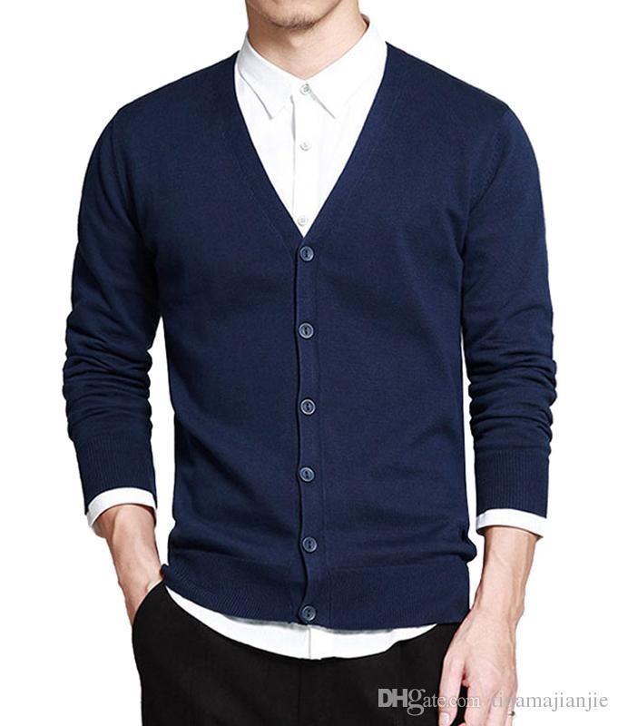 2018 nuevos hombres de la moda caída de invierno suéteres con cuello en V manga larga algodón punto cardigan suéter delgado ajuste (negro + gris + azul)