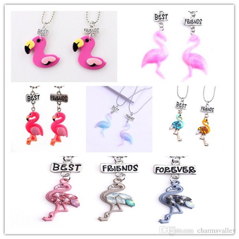 """Un conjunto de Niños """"Mejores Amigos"""" Collar de Flamingo Animales Encantadores Colgantes Collares Para Niños Amistad Regalo Joyería"""