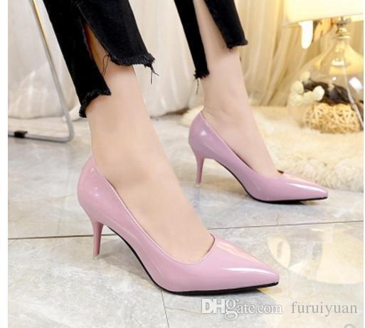 Бесплатно отправить горячие туфли на высоком каблуке женщины 2018 весна и осень острая голова мелкий рот большой код малый код тонкий каблук